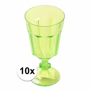 10x plastic camping wijnglas groen 15 cm kopen
