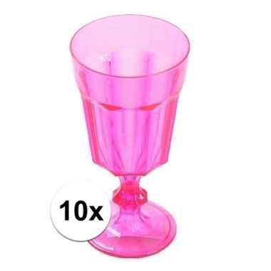 10x plastic camping wijnglas roze 15 cm kopen