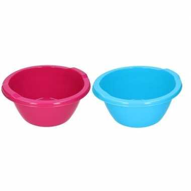 2 stuks blauwe/roze camping afwasbak 6,5 l kopen