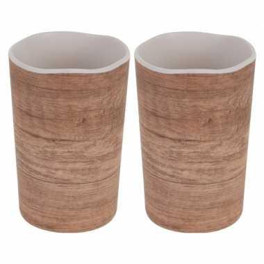 2x beker/mok voor camping houtprint 11 cm kopen