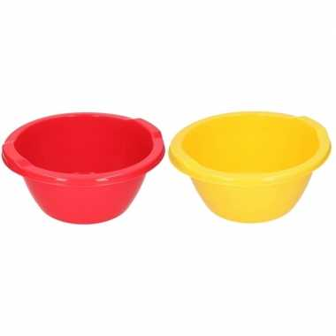 2x camping afwasbak 6,5 l rood en geel kopen