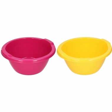 2x camping afwasbak roze/geel 6,5 l kopen