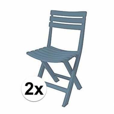 2x grijsblauw vouwbaar camping stoeltje 80 cm kopen