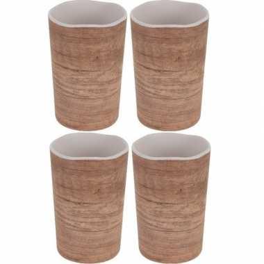 4x bekers/mokken voor camping houtprint 11 cm kopen