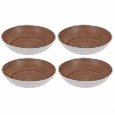 4x diepe borden voor camping houtprint 20 cm kopen