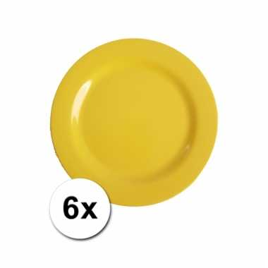 6 Gele camping bordjes 20 cm kopen