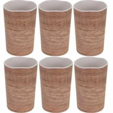 6x beker/mok voor camping houtprint 11 cm kopen