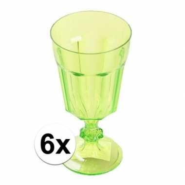 6x plastic camping wijnglas groen 15 cm kopen