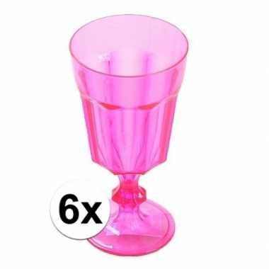 6x plastic camping wijnglas roze 15 cm kopen