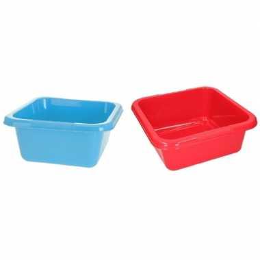 Blauwe en rode camping afwasbak 15 l kopen