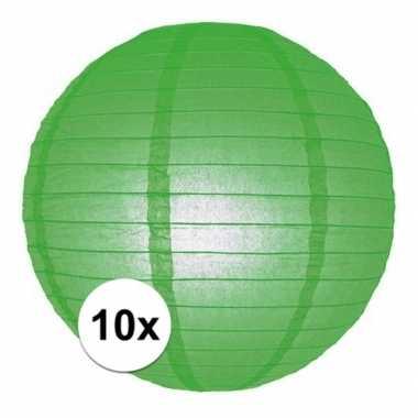 Camping 10x bol lampionnen groene versiering van 25 cm kopen