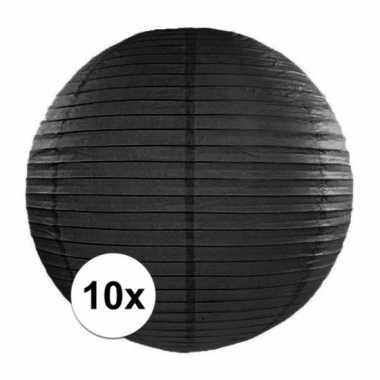 Camping 10x bolvormige lampionnen zwart 35 cm kopen