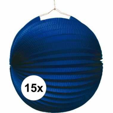 Camping 15 blauwe feest lampion 22 cm kopen