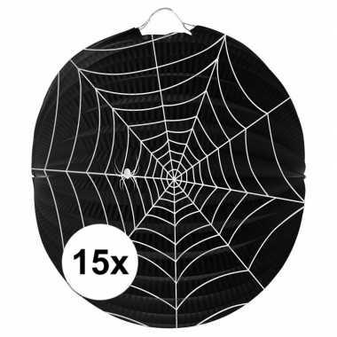 Camping 15 papieren spinnenweb lampionnen 22 cm kopen