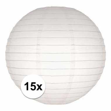 Camping 15x bol lampionnen in het wit 25 cm kopen