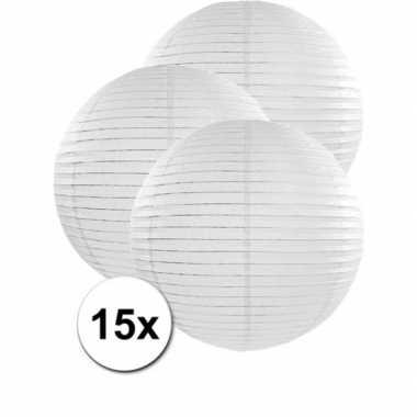 Camping 15x bolvormige bruiloft lampionnen wit van 50 cm kopen