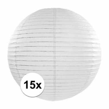 Camping 15x witte bol lampionnen van 35 cm kopen