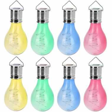 Camping 16x solar hang lampenbolletjes gekleurd op zonne-energie 15 cm tuinverlichting kopen