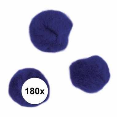 Camping 180x donkerblauw decoratieve pompons 15 mm kopen