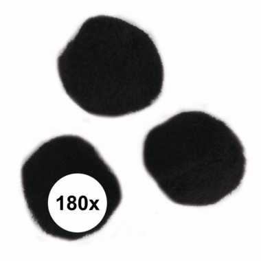 Camping 180x zwart decoratieve pompons 15 mm kopen