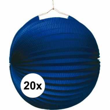 Camping 20 blauwe feest lampion 22 cm kopen