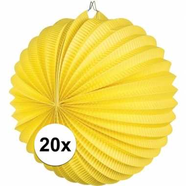Camping 20 gele feest lampionnen papier kopen