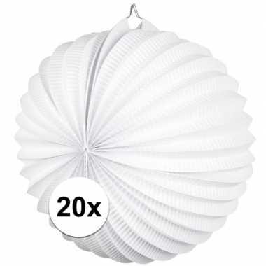 Camping 20 papieren lampionnen wit 22 cm kopen