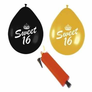 Camping 24 stuks sweet sixteen ballonnen met pomp zwart goud kopen