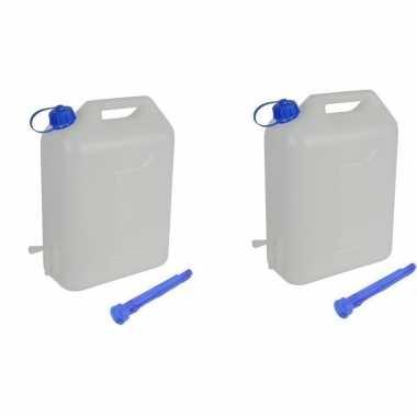 Camping 2x 10 liter jerrycan voor water met schenktuit kopen