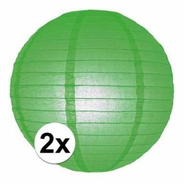 Camping 2x bol lampionnen groene versiering van 25 cm kopen