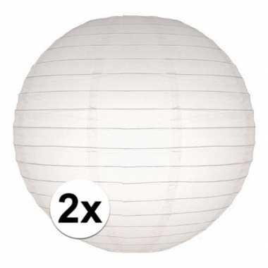 Camping 2x bol lampionnen in het wit 25 cm kopen