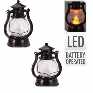 Camping 2x bronzen lantaarn decoratie 12 cm vlam led op batterijen kopen