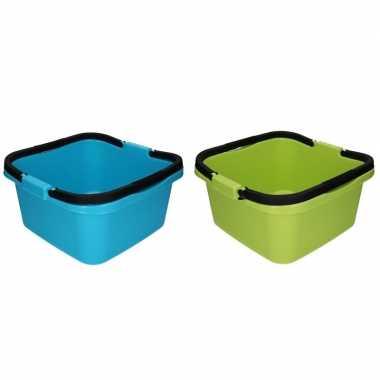 Camping 2x handige teil / afwasteil met handvat groen en blauw 13 lit