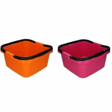 Camping 2x handige teil / afwasteil met handvat roze en oranje 13 lit