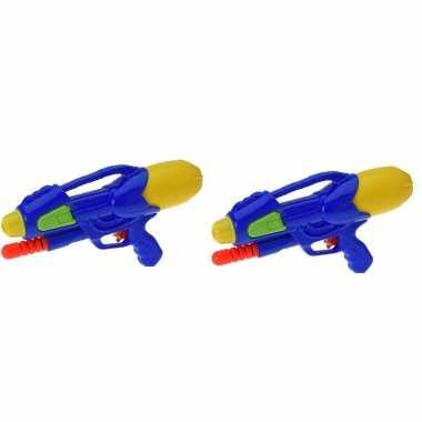 Camping 2x kinderspeelgoed waterpistooltjes/waterpistolen met pomp 30 cm blauw kopen