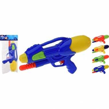 Camping 2x kinderspeelgoed waterpistooltjes/waterpistolen met pomp 30 cm geel kopen