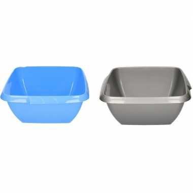 Camping 2x kunststof afwasteil grijs en blauw 11 liter kopen