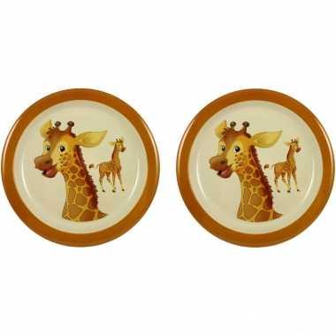 Camping 2x melamine borden giraffe wit/bruin 21,5 cm voor kinderen kopen