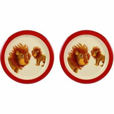 Camping 2x melamine borden leeuw wit/rood 21,5 cm voor peuters/kinderen kopen