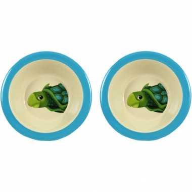 Camping 2x melamine kommen schildpad wit/blauw 16,5 cm voor kinderen kopen