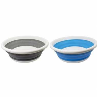 Camping 2x opvouwbare afwasteil blauw en grijs 14 liter kopen