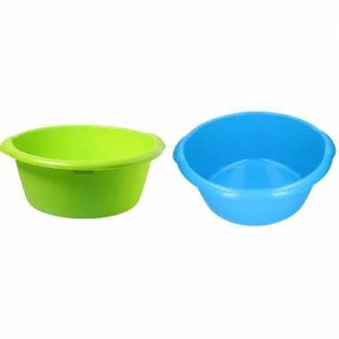 Camping 2x plastic afwas teil blauw en groen 25l 50 cm kopen