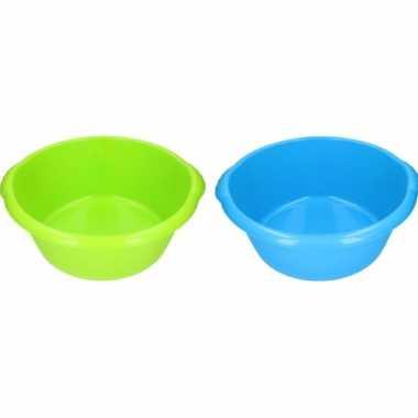 Camping 2x plastic afwas teil blauw/groen 15l 50 cm kopen