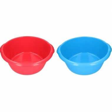 Camping 2x plastic afwas teil blauw/rood 15l 50 cm kopen