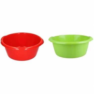 Camping 2x plastic afwas teil groen/rood 10l 38 cm kopen