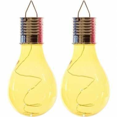 Camping 2x solarlamp lampbolletjes/peertjes op zonne-energie 14 cm geel kopen