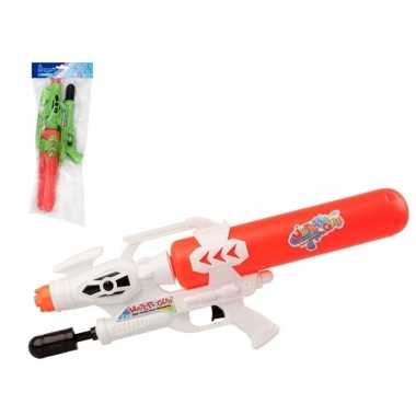 Camping 2x speelgoed waterpistolen met pomp groen/rood 56 cm kopen