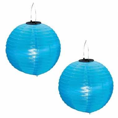 Camping 2x stuks blauwe solar lampionnen op zonne energie 30 cm kopen