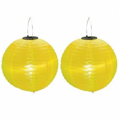 Camping 2x stuks gele solar lampionnen op zonne energie 30 cm kopen