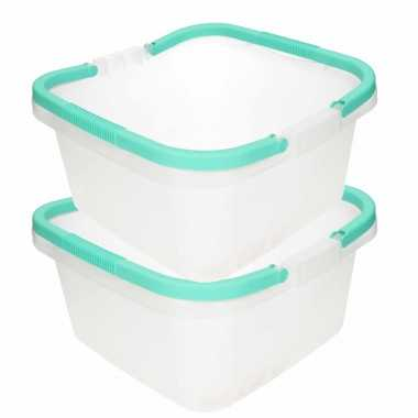 Camping 2x stuks handige transparante teil / afwasteil met handvat mint groen 13 liter kopen